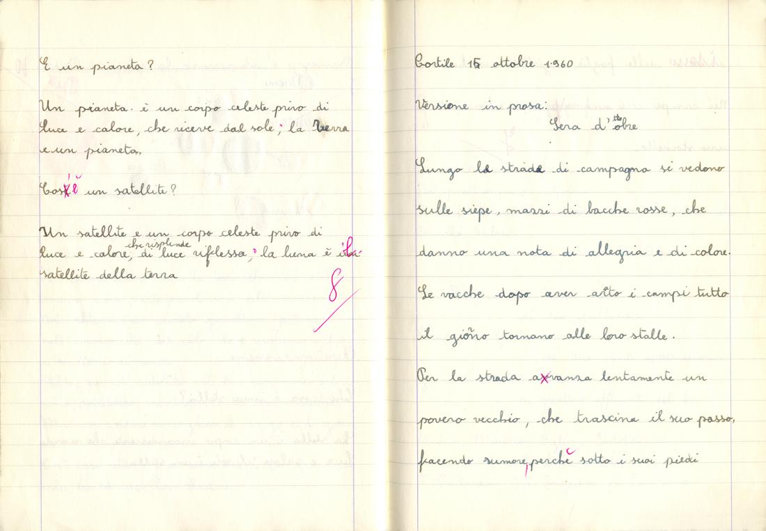 Quaderno A Righe Di Quinta Elementare 1960 61